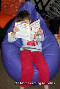using a large beanbag for sensory integration