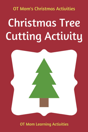 Christmas tree cutting activity with free template.