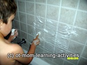 Number formations with shaving cream