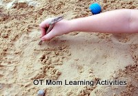practice spelling with sand writing!