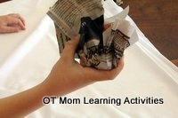 crumpling paper with one hand